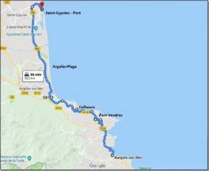 Carte du trajet aller et retour de Saint-CyprienPort à Banyuls-sur-Mer, 66 Pyrénées Orientales