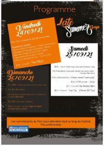 Late Summer Days 2021 flyer verso