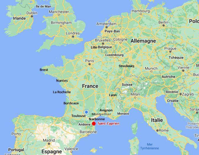 Calcul itinéraire jusqu'à Saint-Cyprien, 66 Pyrénées-Orientales - France
